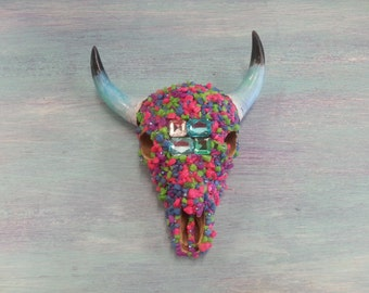 Bottom of the Sea Decorated Cow Skull Embellished with Stones, Crystals, & Gems