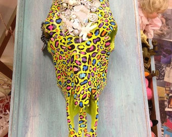 Lime Green & Rainbow Cheetah Decorative Cow Skull with Crystals and Jewels