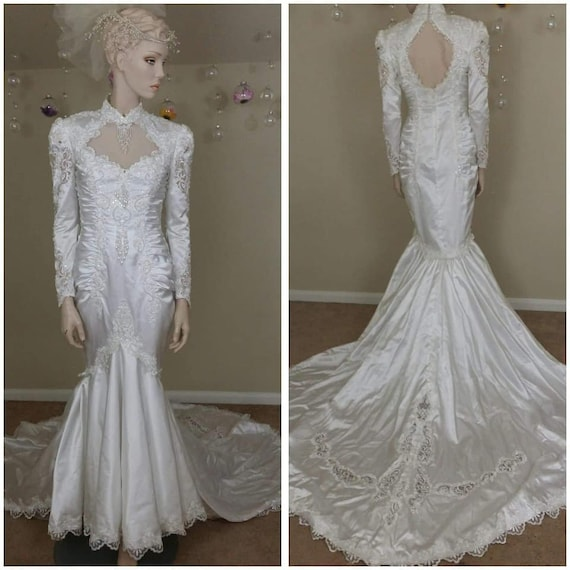 research 80s mermaid wedding dress