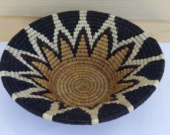 Vintage Woven Neutral / Brown/ Tan Tone Native Bowl Geometric design