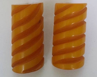 Vintage large carved Bakelite Butterscotch  Clip On Earrings -Tested