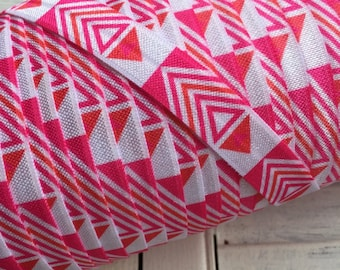 Tribal Pink / Hint of Orange Fold Over Elastic - 5 Yards