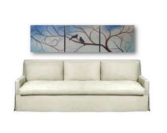 Bird painting birds in tree triptych Canvas art Extra Large painting love black birds original wall art 60x16 high Tree, artbyevelynmarie