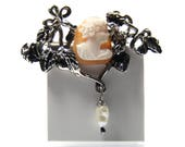 Vintage Cameo Brooch Sterling Silver With Freshwater Pearl Drop