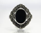 Vintage Black Onyx Ring With Marcasite Size 7 Sterling Silver