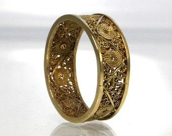 Vintage Filigree Wedding Band 14K Yellow Gold Size 6.25 Handmade