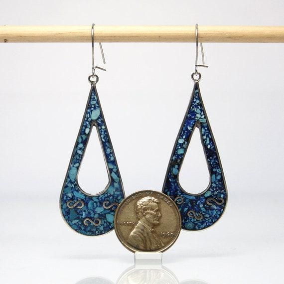 925 Sterling Silver Turquoise Chip Inlay Hoop shape Drop Earrings