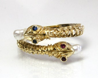 Vintage Gold Snake Ring Wedding Band 18K Size 7.5 Adjustable Open Bypass Design With Lab Created Ruby And Sapphire Eyes And FW Pearl Tongues