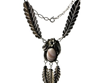 Vintage Southwestern Feather Necklace Sterling Silver And Mother Of Pearl