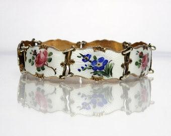 Vintage Ivar Holth Norway Sterling Silver Gold Vermeil And Enamel Link Bracelet With Flower Design