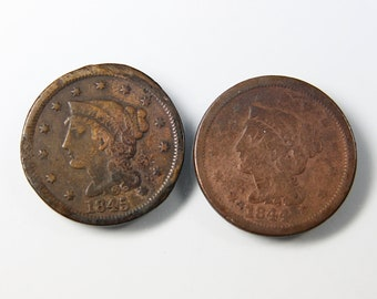 Large Cent Lot Coronet Braided Hair 1844 And 1845