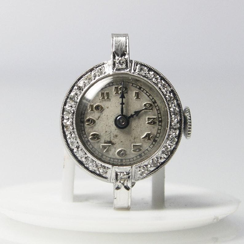 70c586bcbd70 Ladies Platinum And Diamond Mechanical Watch 17 Jewels Royce