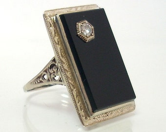 Art Deco Black Onyx Ring With Diamond 14K White Gold Filigree Design With Hand Engraved Design Size 3 1/2 Vintage Ladies Ring