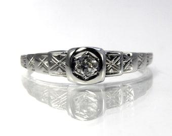 Vintage Art Deco Diamond Engagement Ring 18K White Gold Size 6.25
