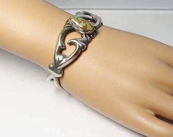 Vintage Southwestern Tufa Cast Silver and Turquoise Cuff Bracelet