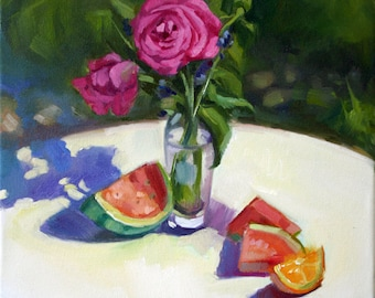 Roses Original Oil Painting, Rose, Fruit, Oil on Canvas, Signed Original, Impressionist, Plein Air, Floral, Canvas Art, still life