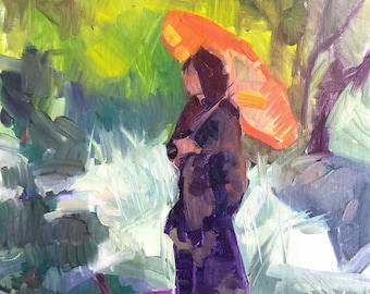 "Kimono Original Oil Painting, Japanese Garden,  Impressionism, Small Painting, Figure, Oil on Canvas, Parasol, 12x9"", Original, American"