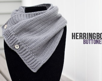 Herringbone Buttoned Cowl Crochet Pattern PDF (The Herringbone Button Crochet Cowl Pattern by Little Monkeys Crochet) Cowl Crochet Pattern