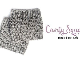 Crochet Pattern for Boot Cuffs (Comfy Squares Boot Cuffs Crochet Pattern by Little Monkeys Crochet) Boot Cuffs Pattern, Crochet Boot Cuffs