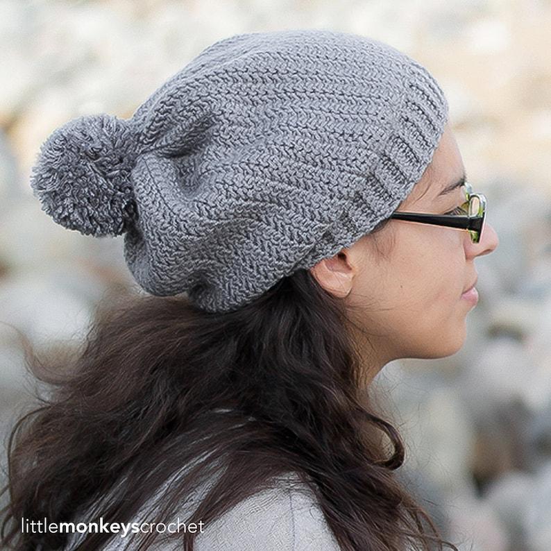 4c640181fd6 Crochet Pattern Slouch Hat PDF Herringbone Slouch Hat Crochet