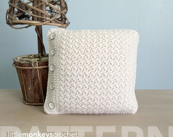 Crochet Throw Pillow Pattern (Buttoned Throw Pillow Crochet Pattern by Little Monkeys Crochet) PDF Crochet Throw Pillow Crochet Pattern