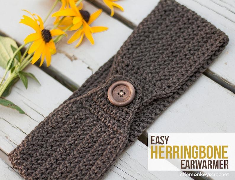 Easy Herringbone Earwarmer Headband Crochet Pattern Pdf Etsy