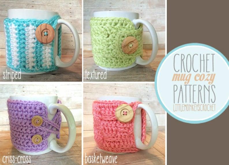 PDF PATTERN Mug Cozy Set of 4 cozy patterns coffee cozy image 0