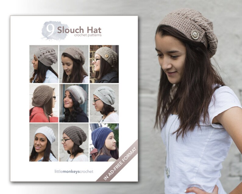 Slouchy Hat Crochet Patterns  9 Pattern E-Book by Little image 0