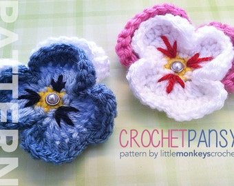 Crochet Pansy Pattern PDF (Crochet Pansy Flower Pattern by Little Monkeys Crochet) flower crochet pattern