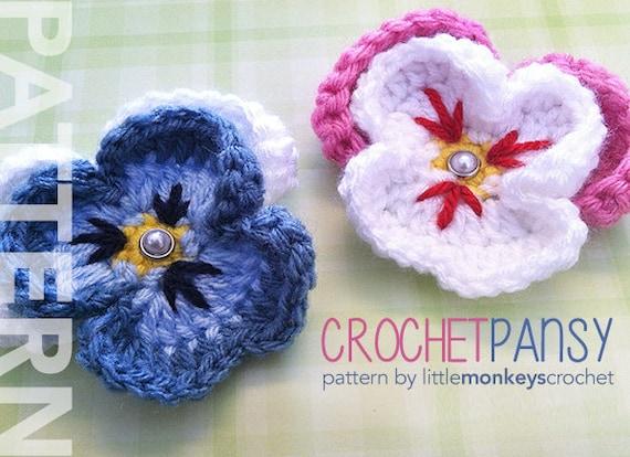 Crochet Pansy Pattern PDF (Crochet Pansy Flower Pattern by Little Monkeys Crochet) flower crochet pattern
