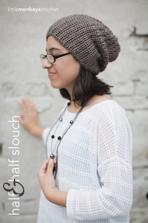 Slouchy Hat Crochet Pattern Pdf The Half Half Slouch Hat Etsy