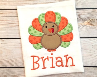 Boy or girl Thanksgiving applique shirt or onesie with name, Boys turkey shirt, girls turkey shirt, boys thanksgiving shirt