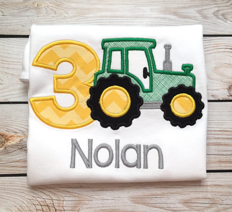 369bafe16 Boys birthday tractor applique shirt or onesie Boys tractor | Etsy