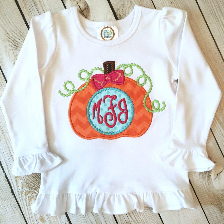 094498d9d Girls pumpkin appliqué shirt or onesie Girls fall shirt | Etsy
