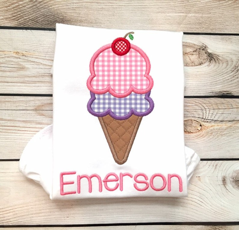 4d5562c85 Girls ice cream appliqué shirt or onesie Girls summer shirt   Etsy