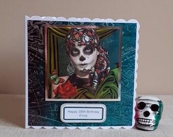 Personalised Day of the Dead Sugar Skull Inspired Handmade Birthday Card Black Heart