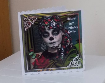 Day of the dead card etsy personalised day of the dead sugar skull inspired birthday card calypso m4hsunfo