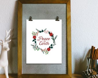 PRINTABLE - Peace on Earth - Holiday Art Print - Holiday Decor