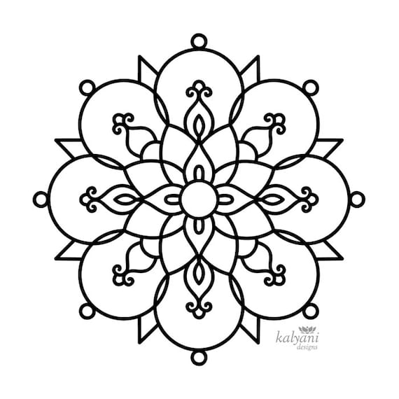 Free Printable Rangoli Coloring Pages For Kids | 570x570