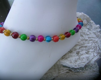 Colorful ankle bracelet.
