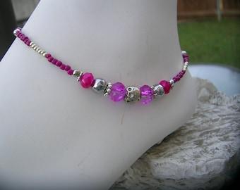 Fuchsia pink ankle bracelet.