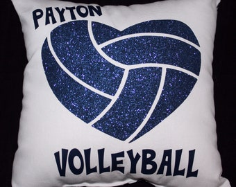 Personalized Glitter HEART VOLLEYBALL Pillow Your Choice of non-flaking glitter color ~ Perfect Volleyball Valentine ~ Team Discounts