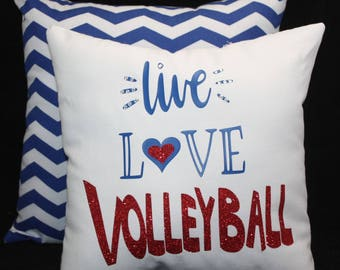 Rhinestone Glitter LIVE LOVE VOLLEYBALL Pillow  Sports Recognition Volleyball Gifts for Players Girls Sports Gifts Christmas