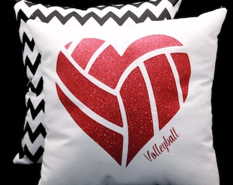 Glitter VOLLEYBALL Heart Shaped Sports Pillow Your choice of glitter color- Can be personalized  - Team Discounts Available