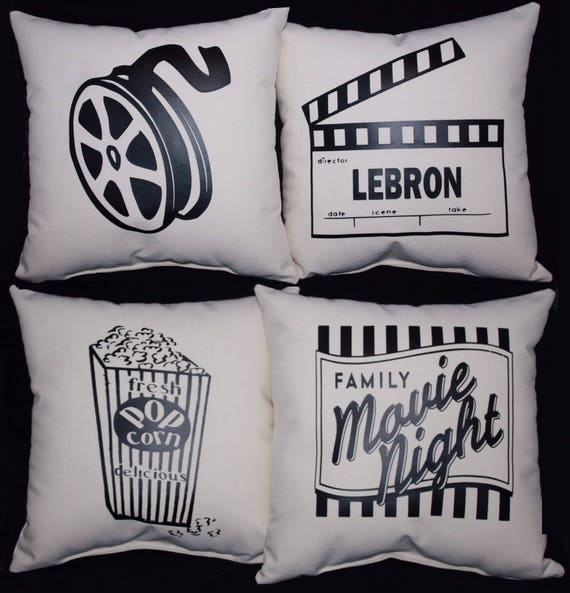 Set Of Four 4 CUSTOM HOME THEATER Theatre Pillow Set   Etsy