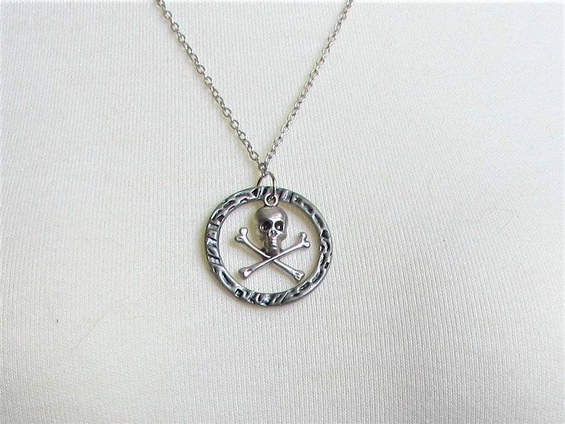 Necklace dark silver ring halloween pendant jewelry NN45 repurposed jewelry skull and crossbones sallygaljewelry