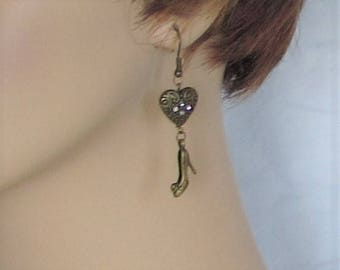 Earrings, pierced, dangle, shoes, high heels, heart, rhinestone, studded, jewelry