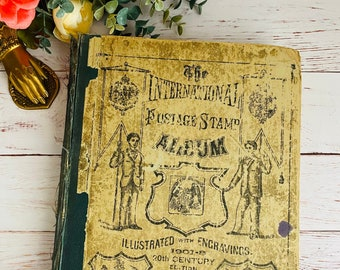 1908 - International Postage Stamp Library - Antique Book - Typography - Art - Victorian and Edwardian