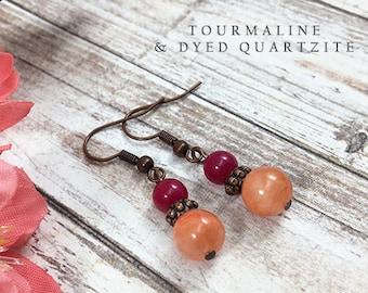 Pink Tourmaline and Orange Dyed Quartzite Earrings