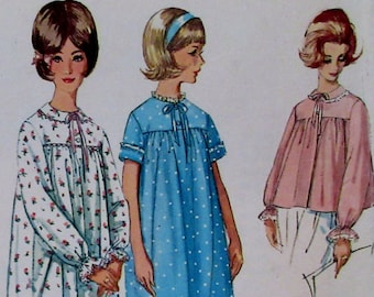 Vintage Simplicity #5193 Misses 1960s Misses nightgown in two lengths and bedjacket. Nightgown and bedjacket Pattern Size 18.
